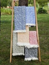 Boho Beach Towel, Argyle Ikat Beach Throw, Geometric Bath Towel, Yoga Towel