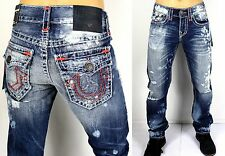 NWT True Religion Ricky Relaxed Straight Super T Destroyed $399 Jeans M859NWY1