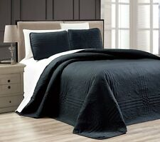 NEW Twin XL Full Queen Cal King Size Bed Black 3 pc Coverlet Quilt Bedspread Set
