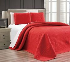 NEW Twin XL Full Queen Cal King Size Bed Red 3 pc Coverlet Quilt Bedspread Set