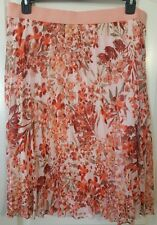 Woman's Skirt Pleated Lined Peach Coral Floral Jaclyn Smith XL XXL Extra Large
