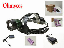 Ohmycos Waterproof 1000LM Cree T6 LED Headlight Head Light Torch 18650+Charger