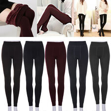 Women Warm Thick Fleece Fur Lined Thermal Leggings Solid Stretch Winter Pants ZO