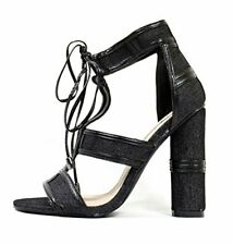 CAPE ROBBIN Maura-2 BLACK Denim Lace Up Strappy Block Heel Denim Sandal Shoe