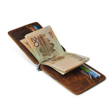 Men Genuine Leather Slim Wallet Money Clip ID Credit Card Holder Passcase Purse