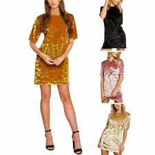 Fashion Womens Lady Velvet Casual Tops T Shirt Loose Long Top Dress Pullover