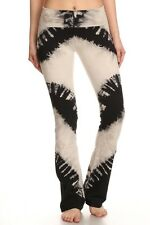 T Party Black & Beige Tie Dye Flared Leg Lounge Yoga Pants