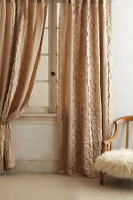"Anthropologie Basal Curtain 50"" x 63"" Neutral Beige Pleated Cotton Linen 1 Panel"