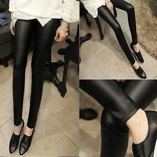 Skinny Sexy Cool Punk Stretchy Women Pants Faux Leather Leggings Black