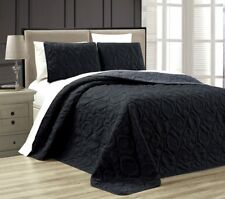 Queen Cal King Bed Black Gray Beach Coastal Seashells 3 pc Quilt Set Coverlet