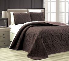 NEW Twin Queen Cal King Bed Brown Beach Coastal Seashells 3pc Quilt Set Coverlet