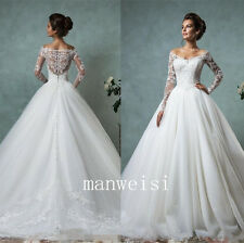 2016 Lace Wedding Dress Long-Sleeve Bridal Ball Gowns Sexy Vintage V-Neck Custom