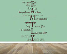 Family Home Quote, rules, Vinyl Wall Art Sticker, Mural, Decal.