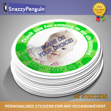Personalised Photo Christening Stickers / party seals/ thank you/ Gift party bag