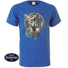 T Shirt Royal Blue with Wolf's Animal Nature Scene Model Dreamcatcher Wolves