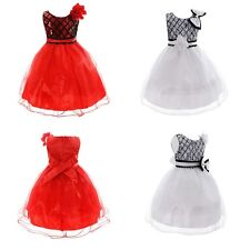 Sweet Kids Girls Dress Bow Flower Princess Formal Party Tutu Dresses 2-10Y