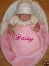 PERSONALISED BABY BLANKET NAME EMBROIDERED BOY GIRL BIRTH CHRISTENING GIFT