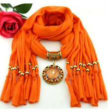Women's Fashion Winter Warm Tassel Scarf Crystal Jewelry Pendant Scarves Gift CN