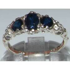 Ladies Solid 925 Sterling Silver Natural Sapphire English Victorian Trilogy Ring