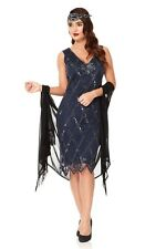 Liz Vintage Inspired Art Deco Downton Abbey Flapper Dress in Navy Blue Plus Size