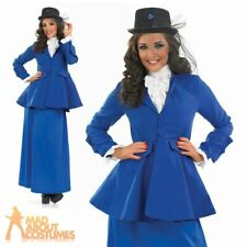 Adult Victorian Nanny Mary Costume Ladies Fancy Dress Book Day Outfit UK 8-30
