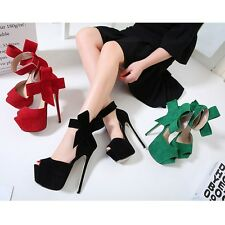 Womens Shoes Bowknot Platform Ankle Strap High Heel Peep Toe Sandal New Stiletto
