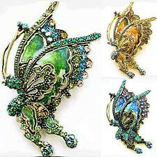 UNIQUE BLUE GOLD or GREEN MULTI CRYSTAL BUTTERFLY GOLDEN BRONZE PIN BROOCH NEWUN