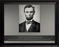 """Abraham Lincoln Photo Picture, Poster or Framed Quote """"Stand with everybody"""""""