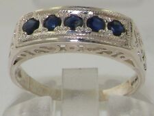 Solid English 925 Sterling Silver Natural Sapphire Victorian Eternity Style Ring