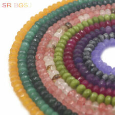 """Jewelry DIY Faceted Rondelle Gemstone Jade Spacer Craft Beads Strand 15"""" 5x8mm"""