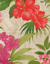 Red/Red/Purple Hibiscus/Tropical Pink Flowers Vinyl Tablecloth (Various Sizes)
