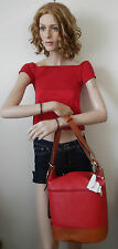 VALENTINA ITALIAN LEATHER CONVERTIBLE BUCKET TOTE/HOBO IN RED/TAN NWT