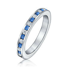 Bling Jewelry 925 Sterling Silver White and Blue CZ Eternity Ring