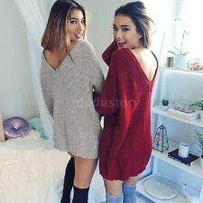 Autumn Winter Sexy Women Long Sleeve Knit BodyCon Slim Party Sweater Dress N6T3
