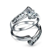 Bling Jewelry Round Baguette CZ Engagement Wedding Ring Set 925 Silver