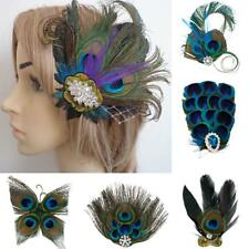 Women Peacock Feather Fascinator Hair Clip Bridesmaid Bridal Wedding Headpiece
