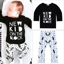 Newborn Baby Boys Girls Kids Cotton T-shirt+Pants Outfits Clothing Set 0-36M