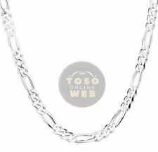 "925 Sterling Silver Figaro Chain 6.8mm w/ Lobster Lock Type Necklace 26"" to 28"""