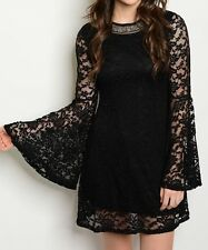 Black Lace Sheer Dramatic Bell Sleeve Dress Fashion Mod Little Black Lace Dress