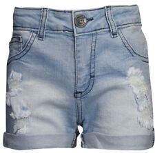 Girls Childrens Kids Denim Turn Up Shorts with rips distressed look 5-13 years