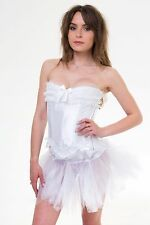 Burlesque Corset & TuTu Fancy dress outfit Moulin Rouge Can Can - White