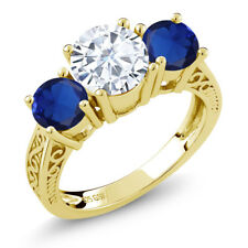 2.30 Ct Created Moissanite Simulated Sapphire 18K Yellow Gold Plated Silver Ring