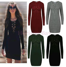 WOMEN'S DRESS BODYCON RIBBED KNIT DEEP V PLUNGE NECK LACE TIE UP FRONT LADIES
