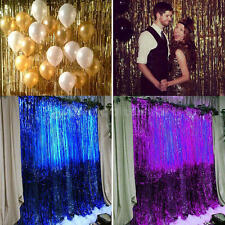 HOT 1/2/3M Metallic Tinsel Shimmer Curtain Party Foil Fringe Curtain Decorations