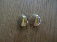 Stunning Christian Dior Vintage Clip on Earrings Gold Plated Shell Design