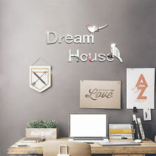 3D Acrylic Mirror Dream House Wall Sticker Removable Kid Baby Home Decor Mural