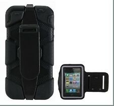 Heavy Duty Rugged Case Cover+Built-in Screen Protector For iPhone 4/4s+Armband