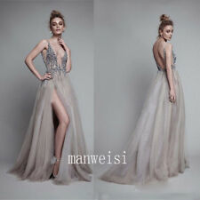 V-Neck Women Long Bridesmaid Prom Gowns Party Cocktail Evening Dress Rhinestones