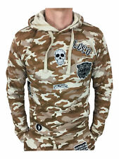 Mens King Kouture Badges Hoodie in Stone Camouflage XL
