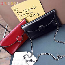4 Colors Vintage  Woman Leather Envelope Chains Long Wallet Clutch PU Purse